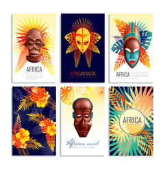 African mask cards set vector