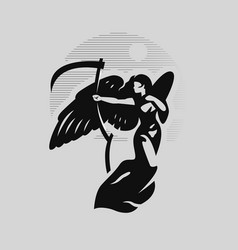 Angel woman with large wings vector