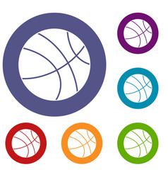 Basketball ball icons set vector
