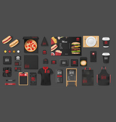 black mockup for pizzeria cafe fast food vector image