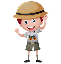 Boy in safari outfit vector