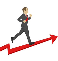 business man running up a success arrow vector image