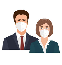 Business woman and man with medical face masks vector