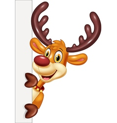 Cartoon funny deer holding blank sign Isolated vector