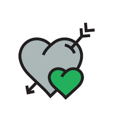 Cartoon heart arrow icon green color vector