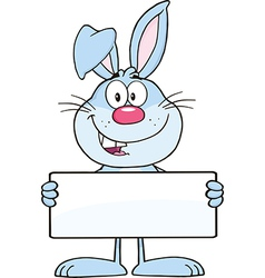 Cartoon rabbit with sign vector