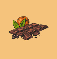 Chocolate bar with orange and coffee beans vector