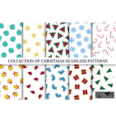 collection christmas isolated seamless colorful vector image