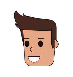 Color image cartoon side view face guy with vector