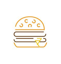 Color line hamburger fast food snack vector