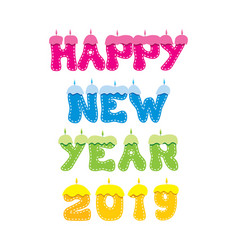 colorful candle new year 2019 poster design vector image