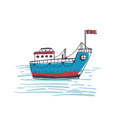 Colorful drawing of passenger ferry boat or marine vector