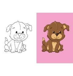 Coloring Book Of Cute Brown Puppy vector image