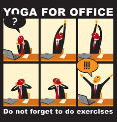 Comic with a businessman who does yoga exercises vector