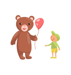 costume bear character with red balloon and cute vector image