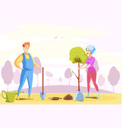 couple agriculture gardening planting nature vector image