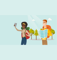 Couple of multiethnic travelers making selfie vector