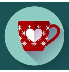 Cup icon with snowflakes in heart vector
