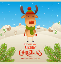 Cute cartoon reindeer character merry christmas vector