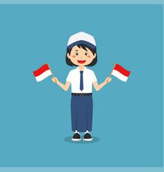 Cute indonesian junior high school holding flag vector