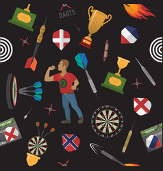 Darts items and elements pattern vector