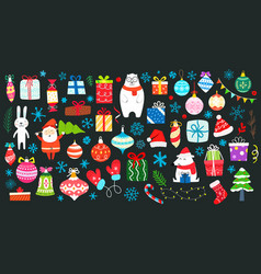 Different decorative christmas elements clip-art vector
