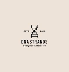 Dna helix strand hipster retro vintage logo vector