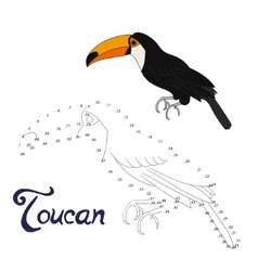 Educational game connect dots to draw toucan bird vector