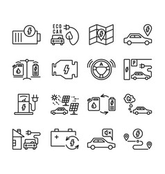 electric car outline icons set vector image