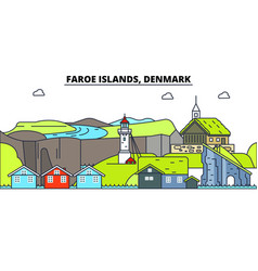 faroe islands line skyline vector image