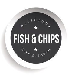 Fish and Chips vintage black stamp sticker vector