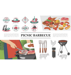flat bbq party concept vector image