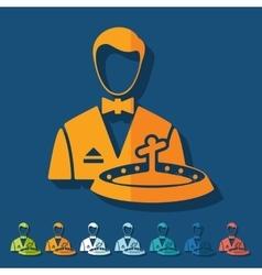 Flat design dealer casino vector