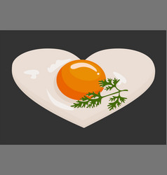 fried eggs in the shape of a heart in a frying pan vector image