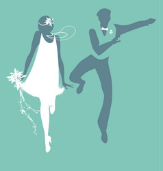 funny wedding couple dressed vintage style vector image