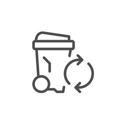 garbage recycling line icon vector image