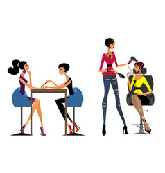 girls in the beauty salon vector image