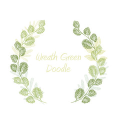 Green scribble leaf wreath card template vector