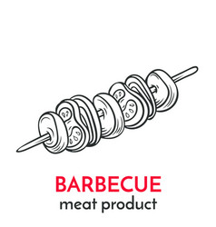 Hand drawn barbecue icon vector