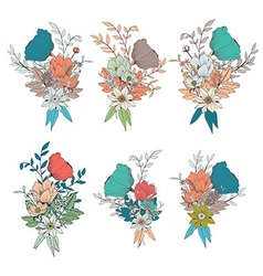 Hand drawn flower bouquets for wedding invitations vector image