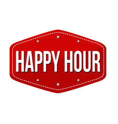 happy hour label or sticker vector image