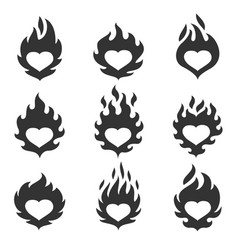 Heart flame set vector