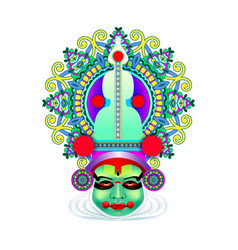 Indian kathakali dancer face vector