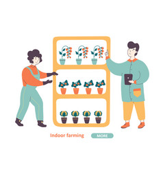 indoor farming flat landing page template vector image