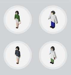 isometric human set of girl pedagogue male and vector image