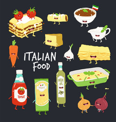 Italian food set lasagna and flavouring black vector