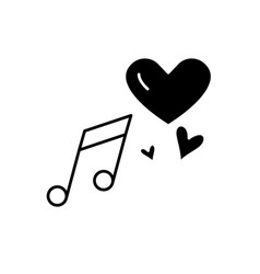 love music black icon sign on isolated vector image