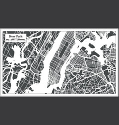 New york usa city map in retro style outline map vector