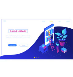 Online library - modern colorful isometric vector