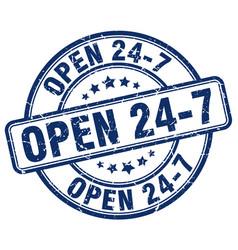 Open 24 7 blue grunge round vintage rubber stamp vector